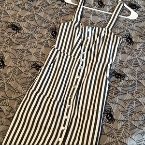 Forever 21 Grey And White Striped Sundress Size S